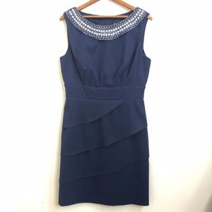 Connected Apparel Navy Blue Sheath Pearl Neck